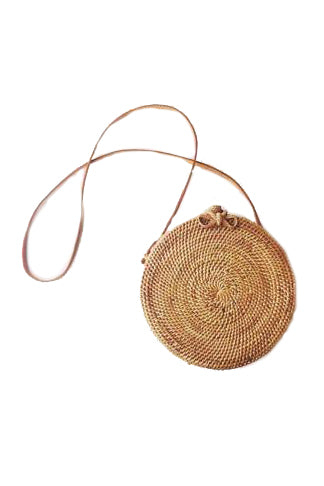 Round Rattan Bag with Bow Closure