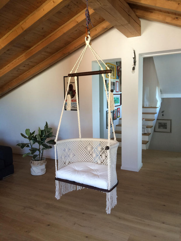 Macrame Hanging Chair with Cushion