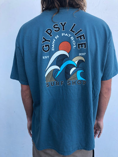 Gypsy Life Surf Shop - Men's Dyed Ringspun Tee - Campari Waves - Teal
