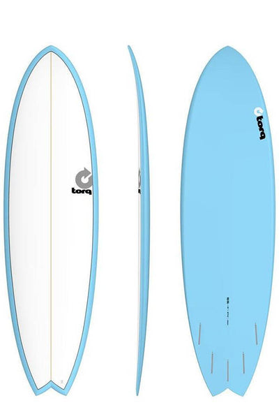 "6'6"" Pinline Blue Fish with White Deck"