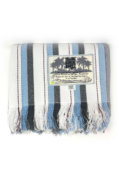 Senor Lopez Beach Blanket - Blue/Grey/Cream/Merlot