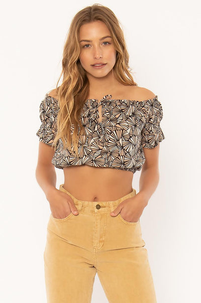 Anchor Me Down Woven Top - Charcoal