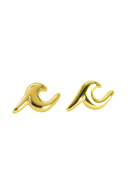 Wave Stud Earrings - Gold