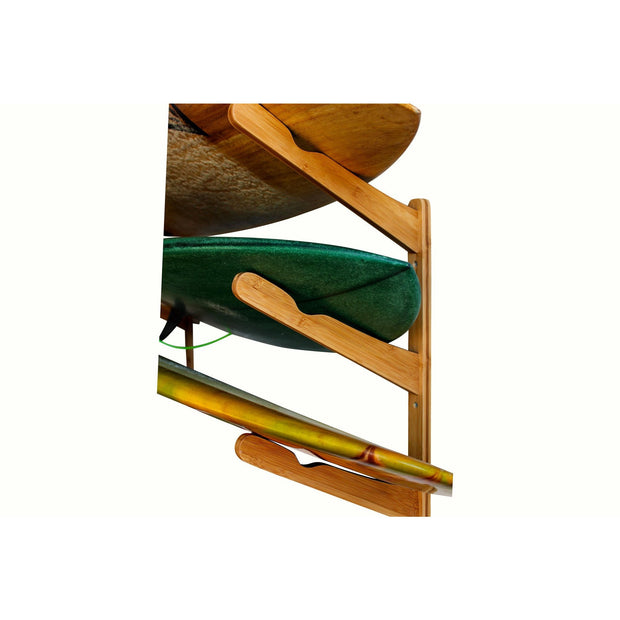 Triple Surfboard Wall Rack - Bamboo