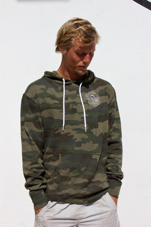 Gypsy Life Surf Shop - OG White Logo - Long Sleeve Hoodie - Green Camo - Independent