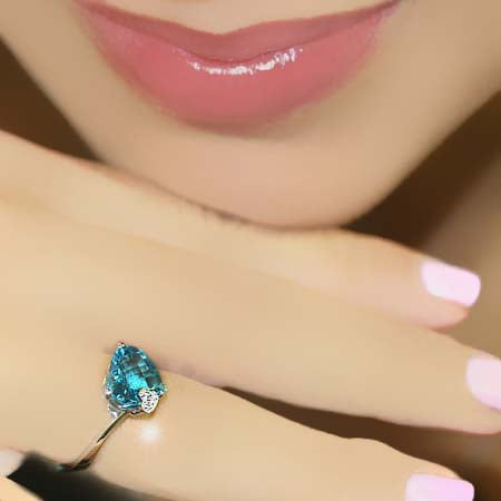 Heart Shaped Blue Topaz Ring
