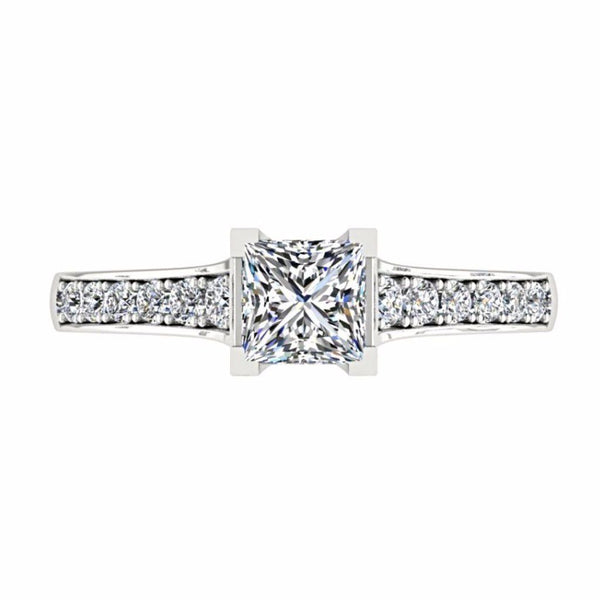 Princess Cut Diamond Engagement Ring with Side Stones 18K Gold - Thenetjeweler