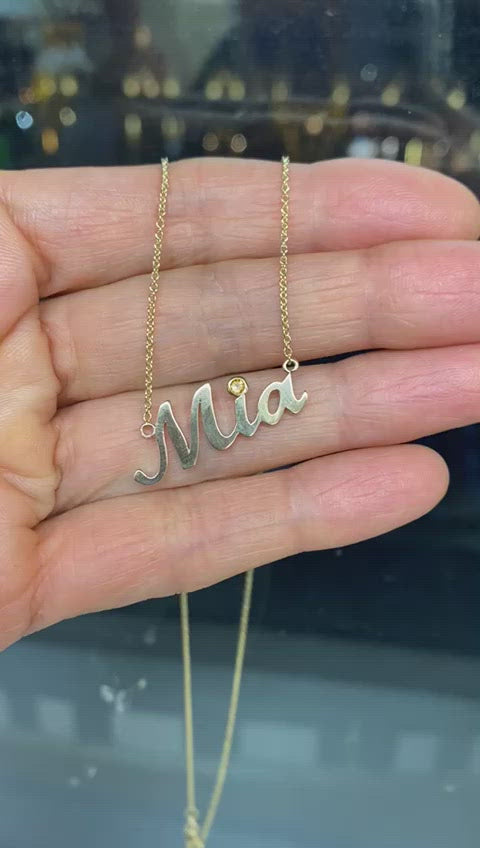 Name Necklace Mia Citrine Accent Yellow Gold