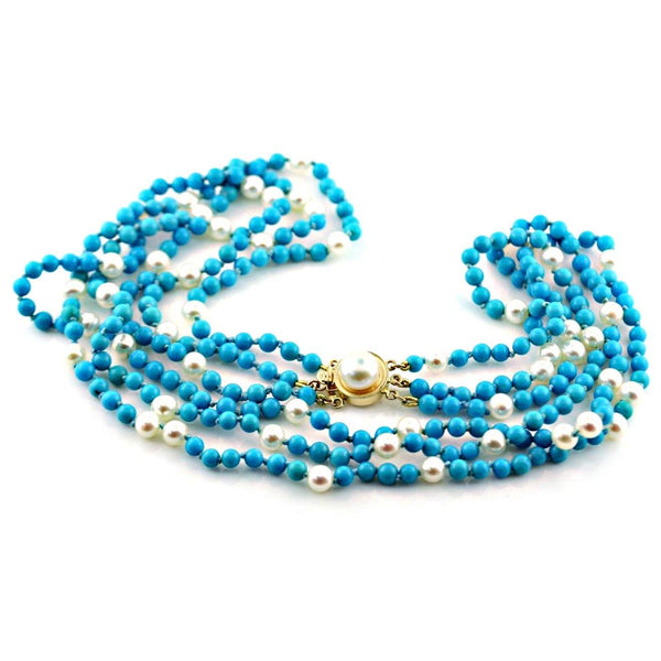 Natural Blue Turquoise and Pearl Necklace 14K Yellow Gold Clasp - Thenetjeweler by Importex