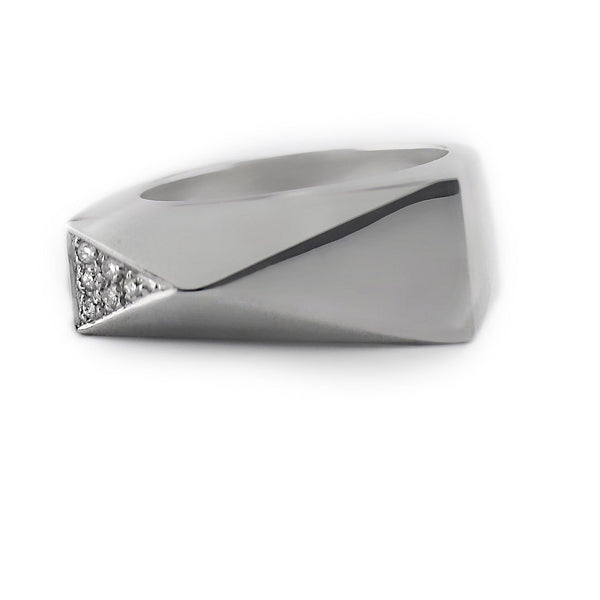 Versace 18k White Gold Diamond Ring - Thenetjeweler