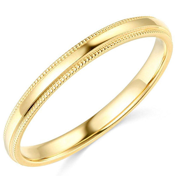 Milgrain Wedding Band Comfort Fit 14K Gold 2.5 mm - Thenetjeweler