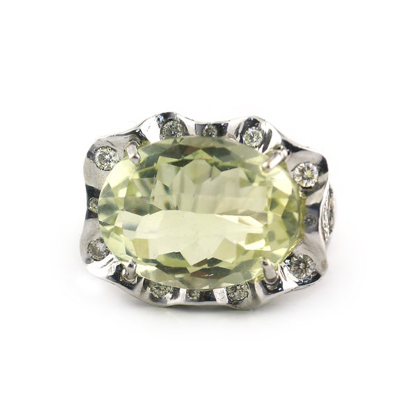 Prasiolite and Diamonds ring White Gold - Thenetjeweler