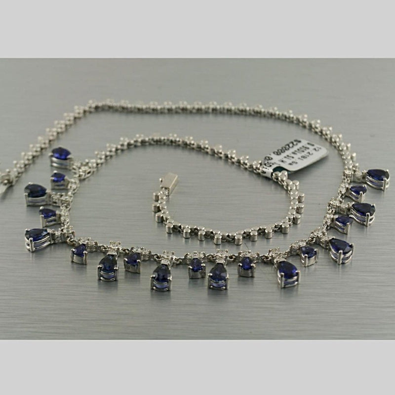 Blue Sapphire Diamond Collar Necklace 18K White Gold 31.0 grams - Thenetjeweler by Importex
