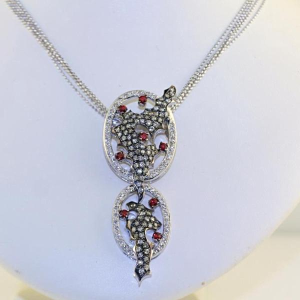 Red Sapphire White and Champagne Diamonds Pendant Necklace 18k White Gold - Thenetjeweler