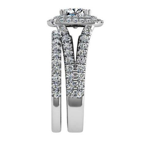Diamond Engagement Ring and Wedding Band Set 0.95ctw - Thenetjeweler