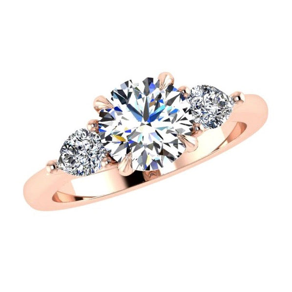 Three Stone Ring with Pear Shaped Side Diamonds Rose Gold - Thenetjeweler