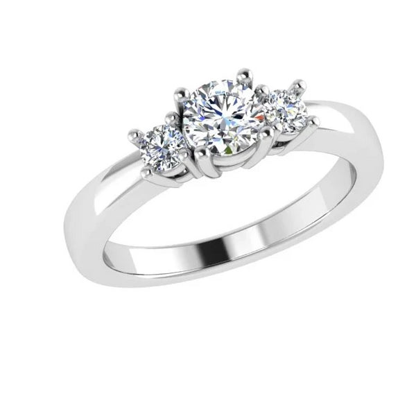 Round Cut Diamond Three Stone Engagement Ring 18K Gold (0.18 ct.t.w).