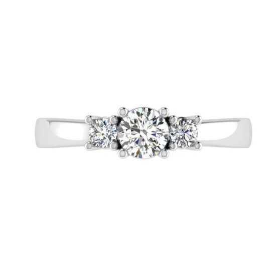 Round Cut Diamond Three Stone Engagement Ring 18K Gold (0.18 ct.t.w). - Thenetjeweler