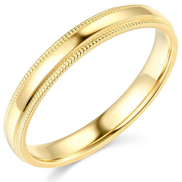 Milgrain Wedding Band Comfort Fit 14K Gold 3 mm - Thenetjeweler