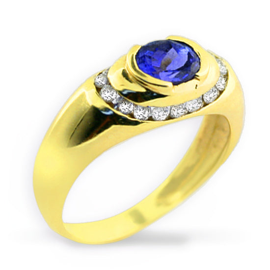 Oval Tanzanite and Diamond Ring 14K Yellow Gold - Thenetjeweler