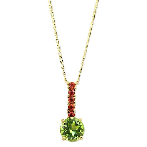 Peridot and Orange Sapphire Pendant Necklace 18K Yellow Gold - Thenetjeweler