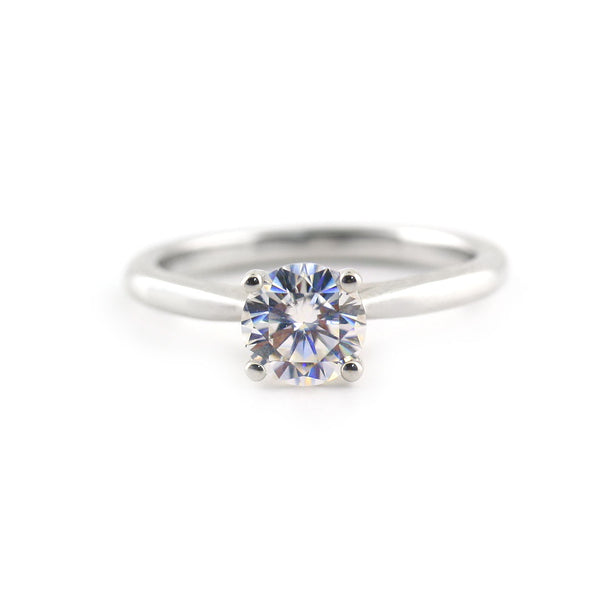 Solitaire Moissanite Ring with Accents - Thenetjeweler