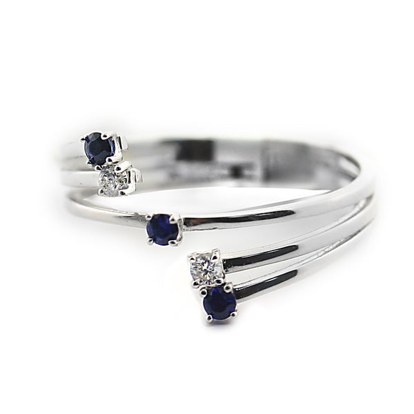 Blue Sapphire and Diamond Open Ring