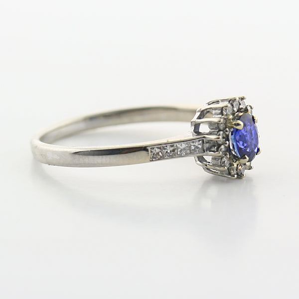 Sapphire and Diamond Cluster Ring - Thenetjeweler