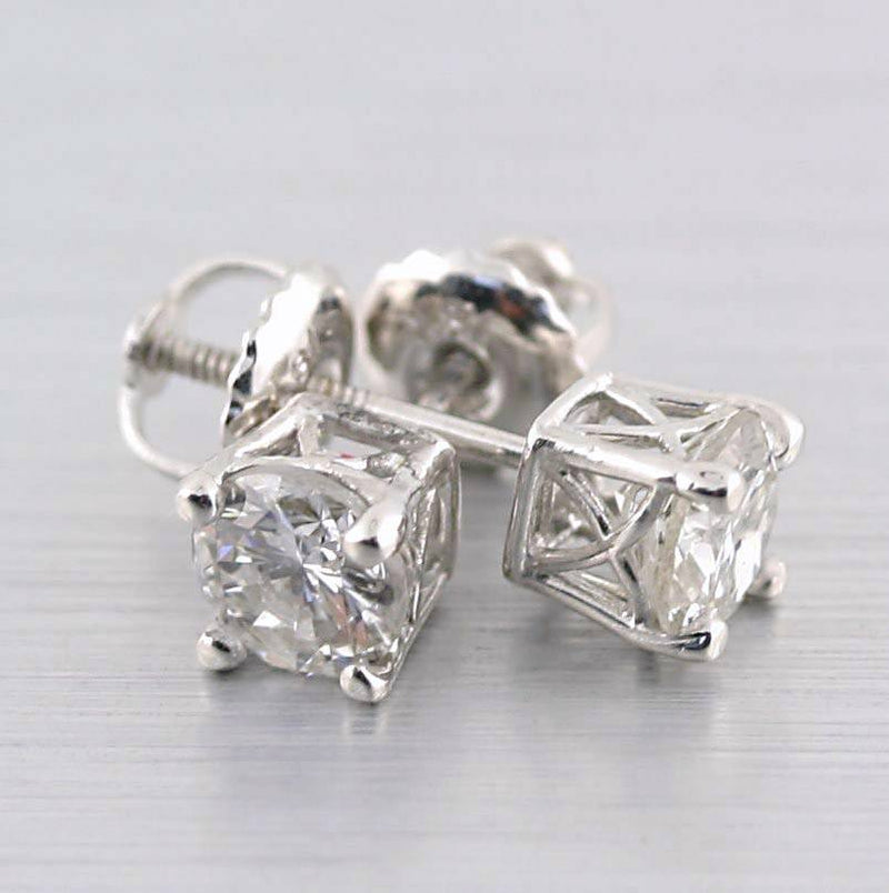 Round Cut Diamond Stud Earrings Vintage Basket Setting Screw Back White Gold - Thenetjeweler