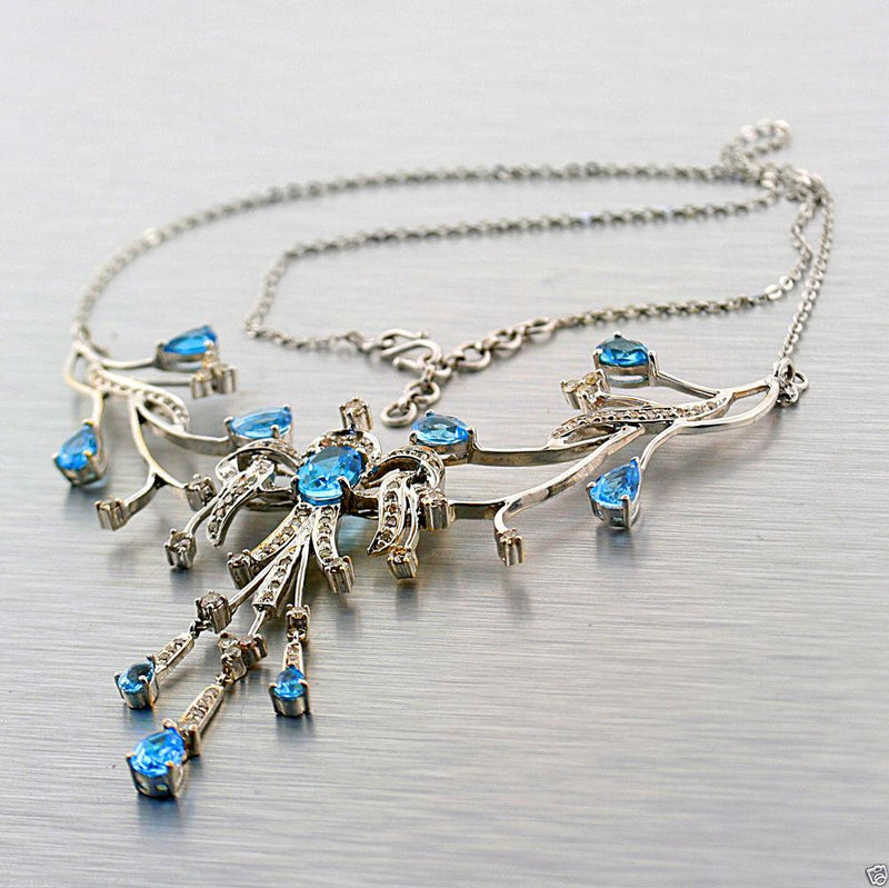 WHITE GOLD BLUE TOPAZ CHAMPAGNE DIAMOND NECKLACE - Thenetjeweler