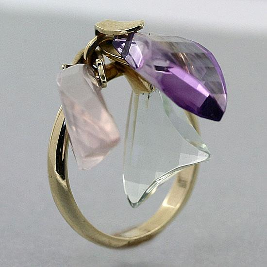 Briolette Quartz Dangle Ring 14K Yellow Gold - Thenetjeweler