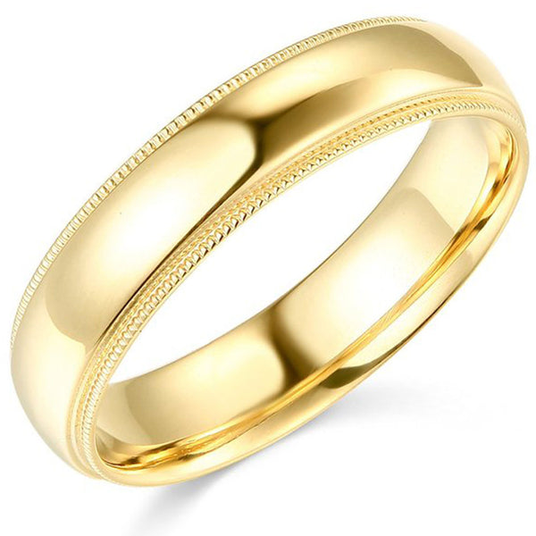 Wedding Band Comfort Fit 14K Gold 5 mm Milgrain Edges