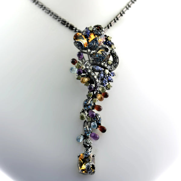Multi-Gem and Diamond Pendant Necklace - Thenetjeweler