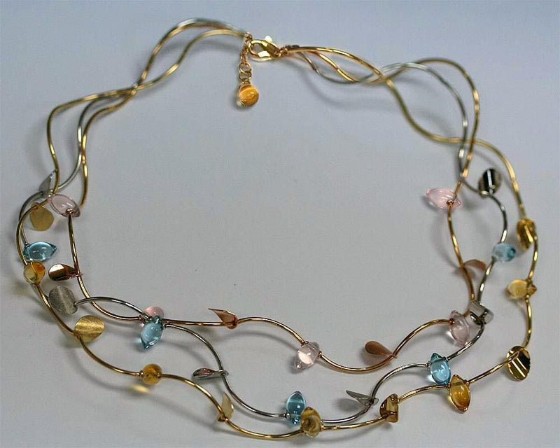 Topaz Citrine Pink Quartz Three Tone 14k Gold Necklace - Thenetjeweler