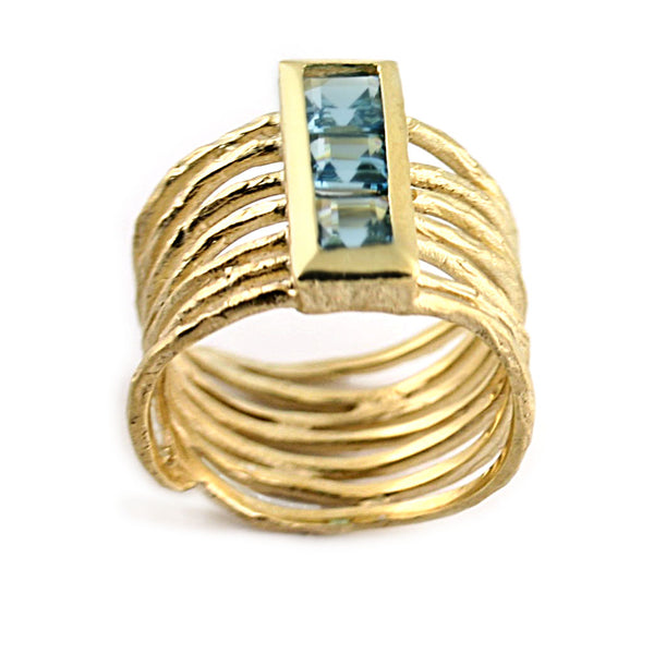 Blue Topaz Multi Row Textured Ring - Thenetjeweler