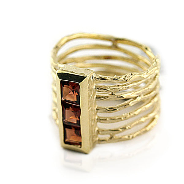 Garnet Wide Band Ring Yellow Gold - Thenetjeweler