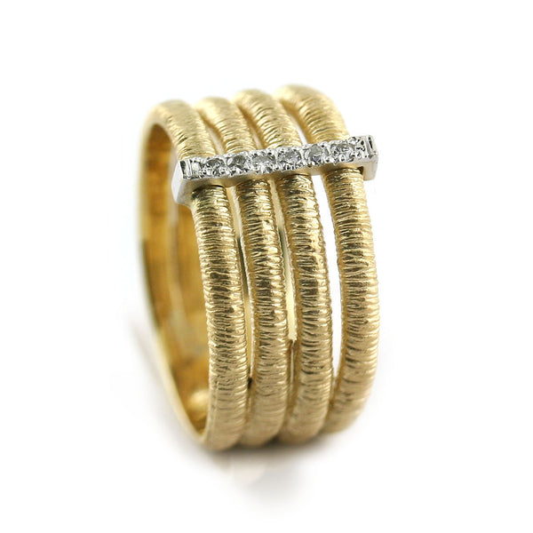 Diamond Multi Row Textured Ring - Thenetjeweler