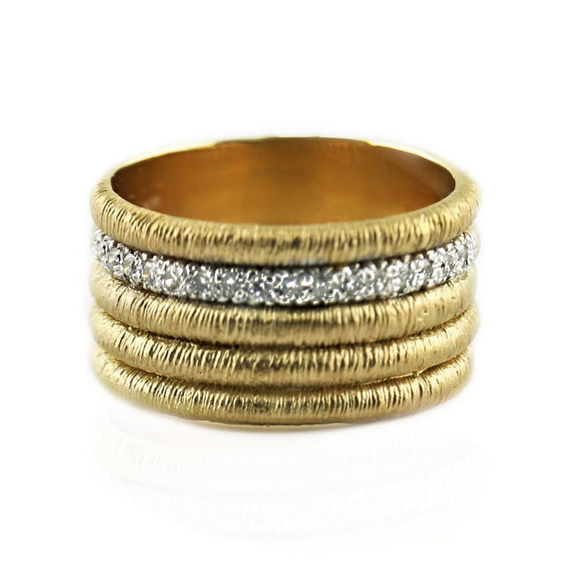 Diamond Multi-Row Ring in 14K Yellow Gold - Thenetjeweler