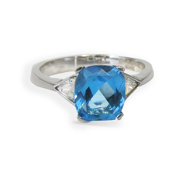 Blue Topaz Diamond Ring 14K White Gold | TheNetJeweler