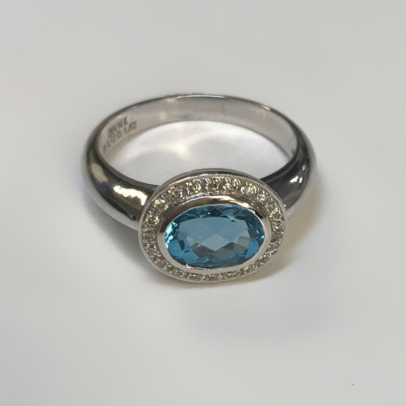 Oval Blue Topaz Ring with Diamonds - Thenetjeweler
