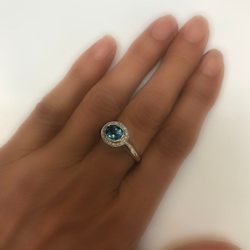 val Blue Topaz Ring with Diamonds