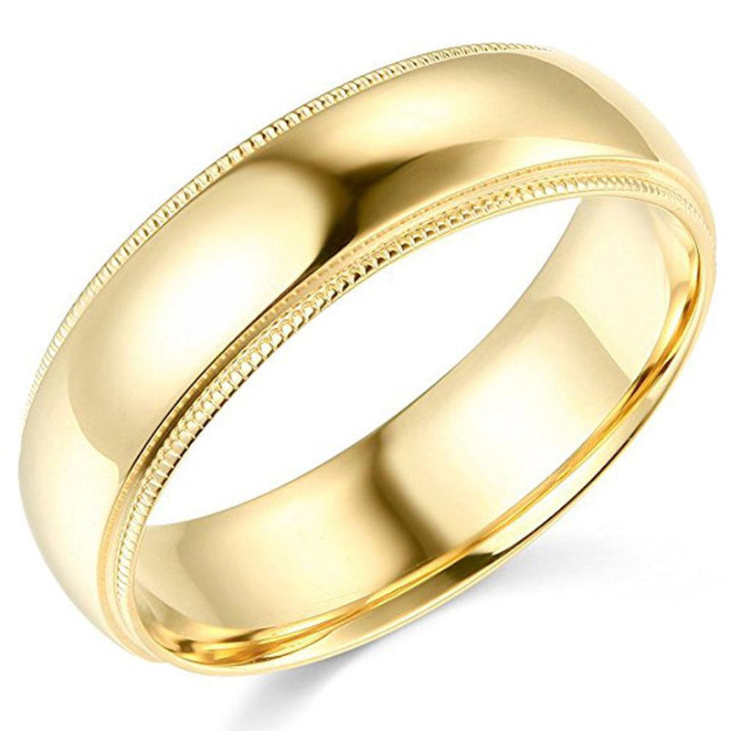 Milgrain Wedding Band Comfort Fit 14K Gold 6 mm - Thenetjeweler