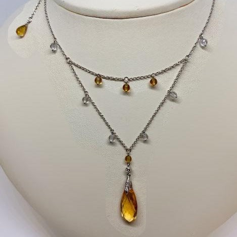 Citrine & Diamond Layered Necklace
