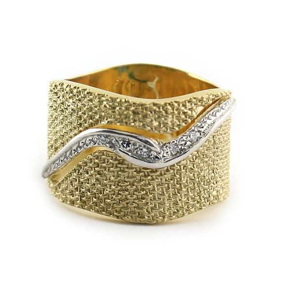 Textured Gold Band With Diamonds