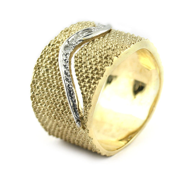 Textured Gold Band With Diamonds - Thenetjeweler