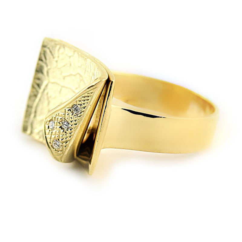 14K Yellow Gold Diamond Textured Cocktail Ring - Thenetjeweler