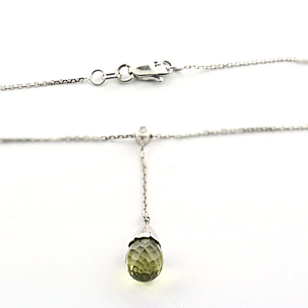 Lemon Quartz & Diamond Pendant Necklace - Thenetjeweler