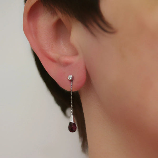 Garnet Drop Diamond Earrings - Thenetjeweler