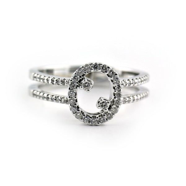 Oval Shaped Diamond Ring with Accents and Double Band 18K White Gold