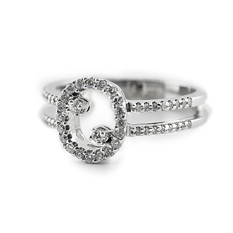 Oval Shaped Diamond Ring with Accents and Double Band 18K White Gold - Thenetjeweler